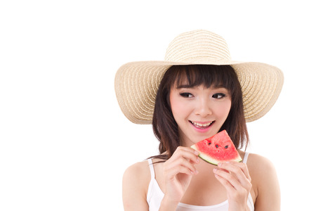 happy woman hand holding watermelon, summer time concept photo