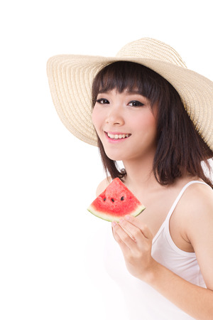 happy woman hand holding watermelon, summer time concept, looking and smiling to you photo