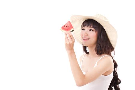 ni�a comiendo: mujer feliz mano que sostiene la sand�a, el concepto de tiempo de verano