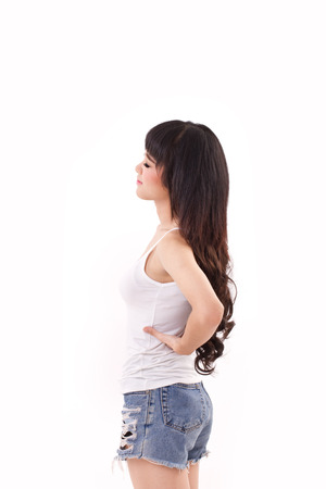 backpain: woman suffering from back pain or injury