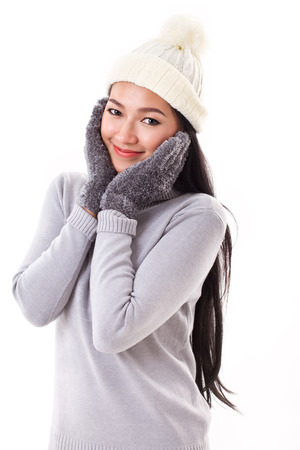 january 1: happy woman in fall or winter style