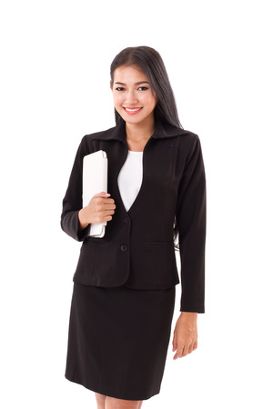 touchpad: business woman holding computer tablet or touchpad