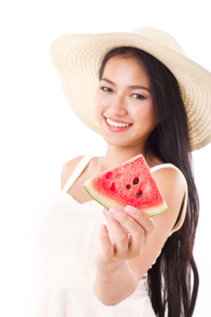 summer lady giving you watermelon photo