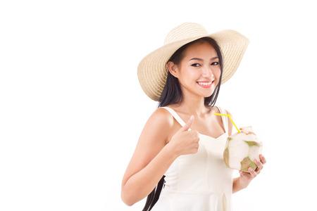summer woman giving thumb up photo