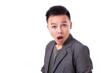 stunned: stunned, surprised mans emotion expression Stock Photo