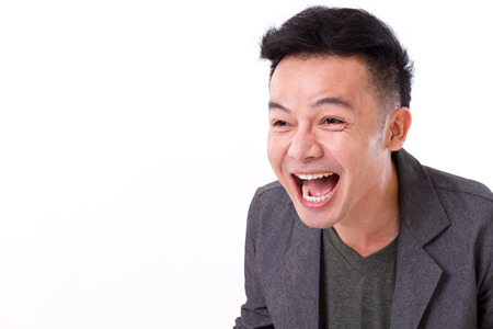 man laughing with blank space for text or copy photo