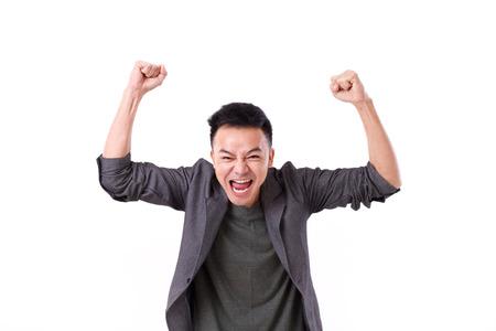 glad winner man shouting