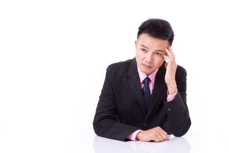 suffers: businessman suffers from sickness, headache