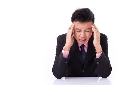 suffers: businessman suffers from sickness, severe headache