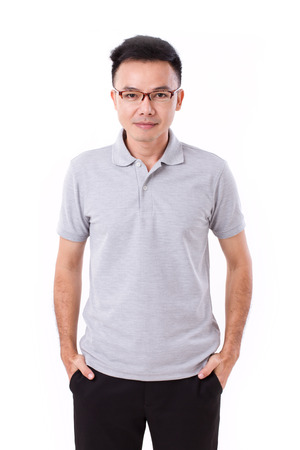 hand in pocket: portrait of asian man, putting his hand in his pocket Stock Photo