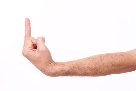 giving the finger: man
