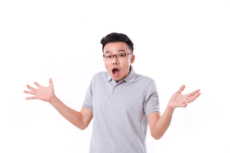 stunned: surprised, exited, stunned asian man