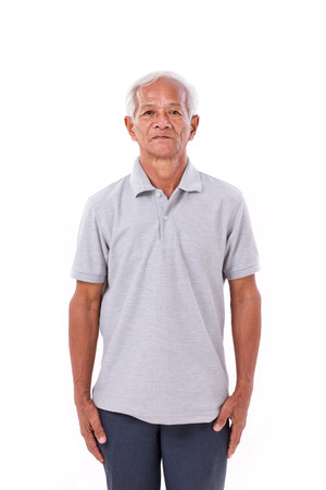 old man standing: portrait of asian senior old man Stock Photo