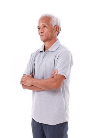 Portret van Aziatische hogere oude man, arm kruising Stockfoto