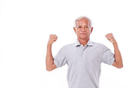 strong old man on white isolated background
