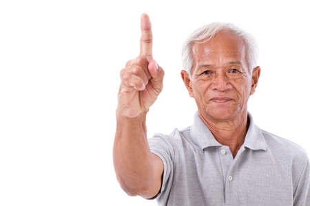 no1: old man pointing 1 finger up, no.1 gesture
