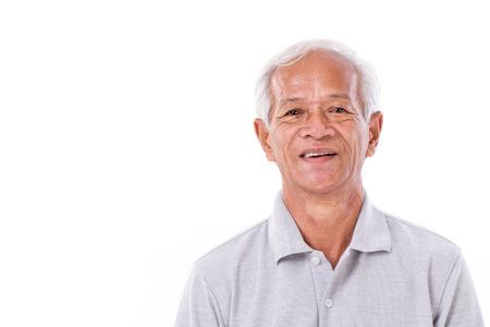 men face: portrait of laughing senior man