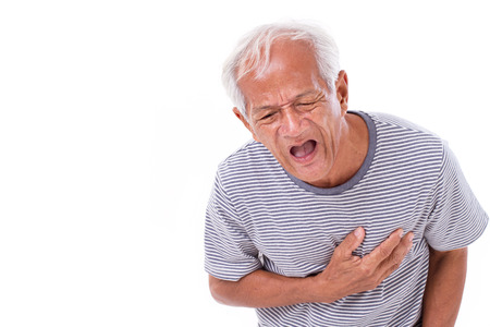 sick old man suffering from heart attack or breathing difficulties Stockfoto