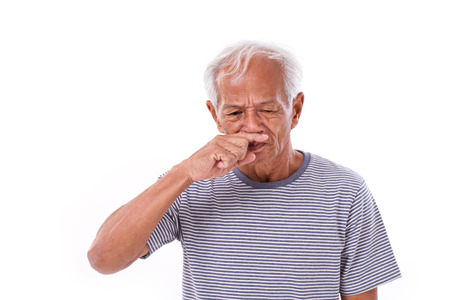 runny: sick old man, runny nose Stock Photo