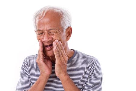 senior asian: sick old man, toothache