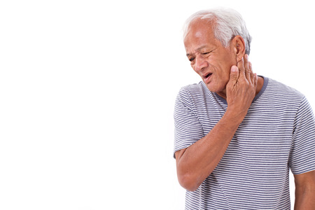 senior man on a neck pain: old man suffering from neck muscle inflammation or injury