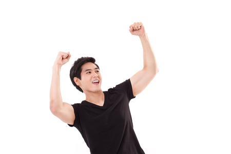 exited, glad, joyful, successful man looking up photo