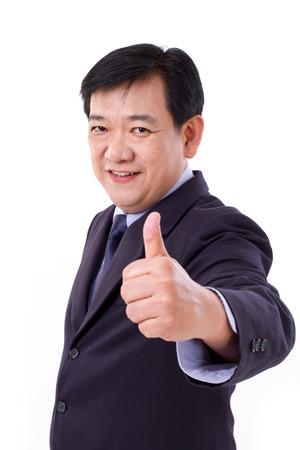 senior manager, leeftijd CEO midden die duim omhoog gebaar Stockfoto
