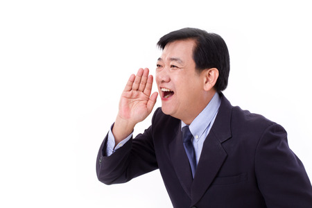 man side: happy senior business executive shouting