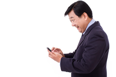 exited, happy businessman with smartphone Stock Photo