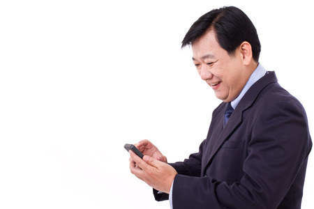 happy businessman with smartphone application photo