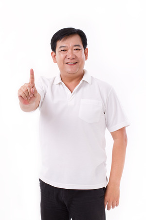 middle aged man raising 1 finger, no.1 gesture