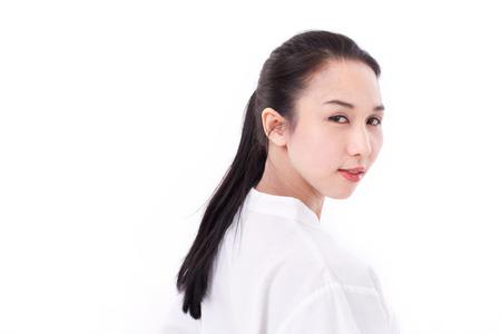 scar: portrait of happy asian woman with scar
