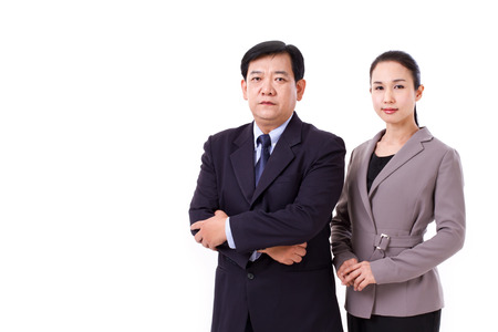 cross arms: confident, successful pair of senior managers