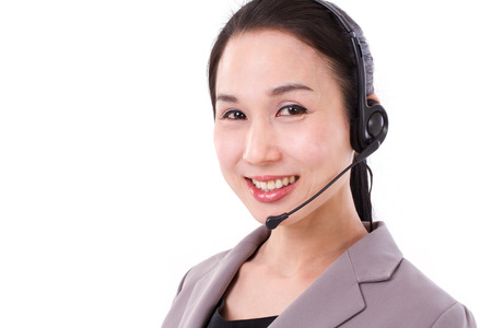 happy female customer service executive face closeup with headset photo