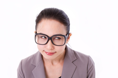 looking up: funny businesswoman looking up at blank space Stock Photo