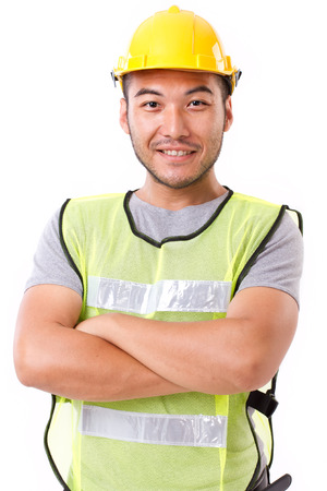 confident, strong construction worker on white background