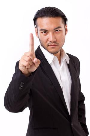 no1: winning businessman raising no.1 hand gesture