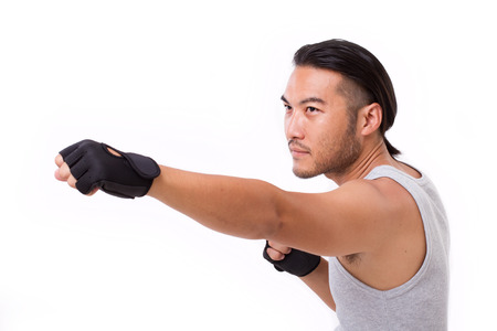 strong: strong sportsman punching