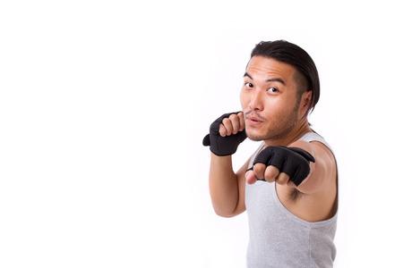 sportsman: strong sportsman punching