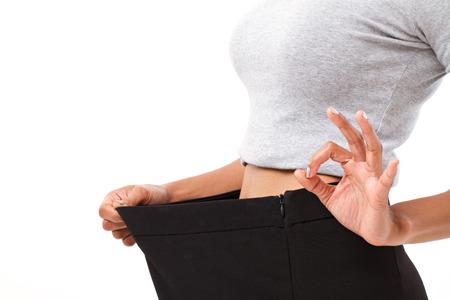slanke vrouw met succesvol gewichtsverlies Stockfoto