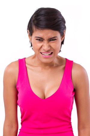 irritate: angry woman isolated