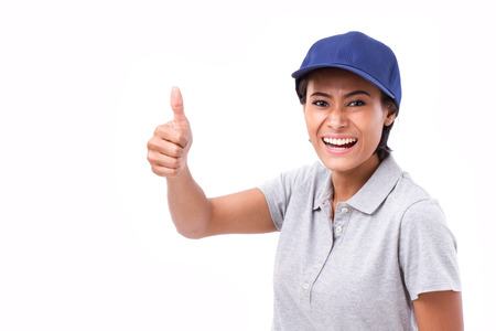 exited female service staff showing thumb up hand gesture, white isolated background photo