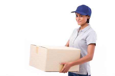 parcel: fast, happy, female delivery service staff with parcel or carton box