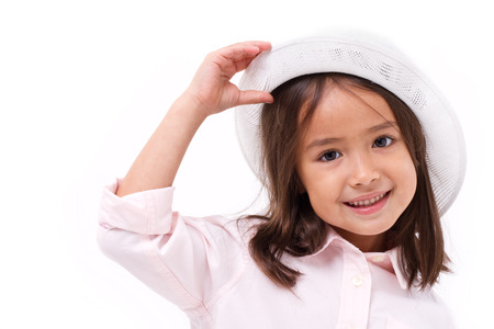 teethy: happy, smiling female asian caucasian kid playing