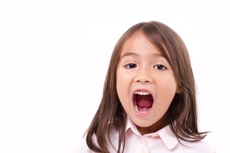 shouting: cute little girl shouting, communication, announcing