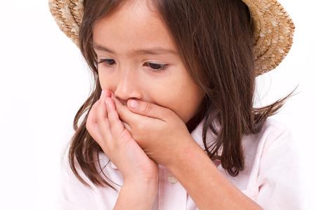 ni�os tristes: ni�a enferma con n�useas o indigesti�n s�ntoma