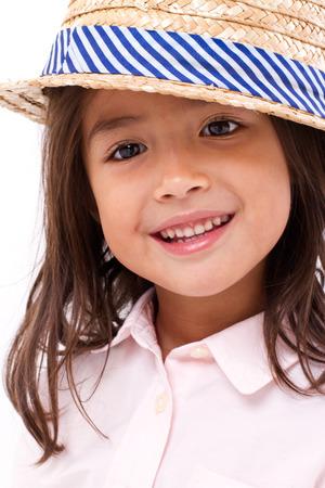 asia smile: Cute, happy, smiling female asian caucasian girl
