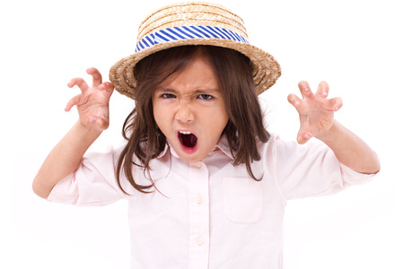 displeased: Portrait of upset, angry, displeased little girl