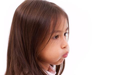 pucker: adorable cute little girl pucker her mouth