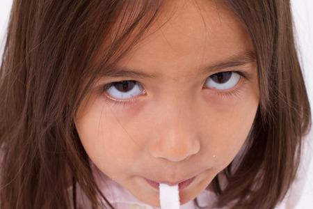 mignonne petite fille: agrandi Portrail des mignonne petite fille avec de la gelée de sucre